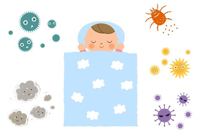 菌だらけの赤ちゃんの布団