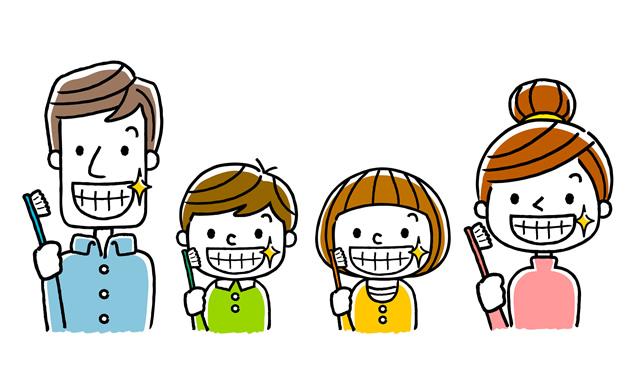 歯磨きをした親子のイラスト