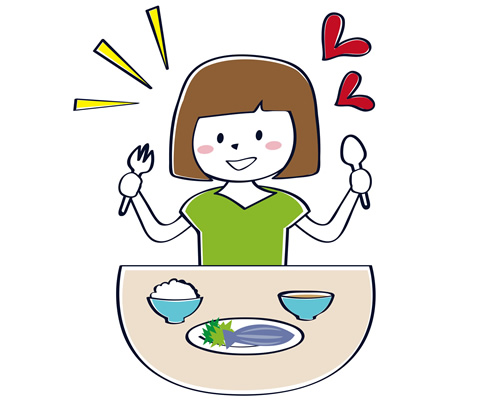 女性が食事しているイラスト