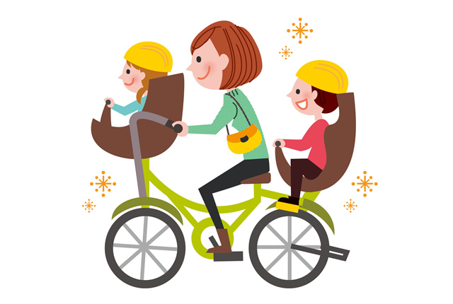 ママと子供が自転車に乗るイラスト
